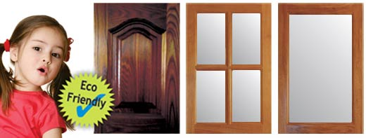 Solid Timber Doors - Square Colonial and Single Lite Frames in New Guinea Rosewood.